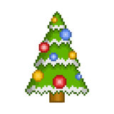 Vector pixel art christmas tree with ornaments. For design Stock Illustration