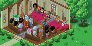 Vector Pixel Art Church Service. Vector illustration of a church service in a cute cartoon video game pixel art style. The church is located in a forest setting royalty free illustration