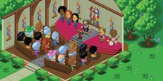 Vector Pixel Art Church Service Royalty Free Stock Image