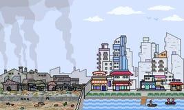 Vector pixel art city half slum. Scene Stock Photo