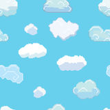 Vector Pixel Art Clouds Seamless Pattern Stock Photo