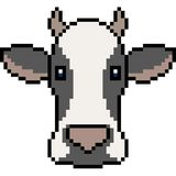 Vector pixel art cow. Isolated Royalty Free Stock Photography