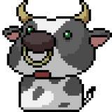 Vector pixel art cow. Isolated cartoon vector illustration