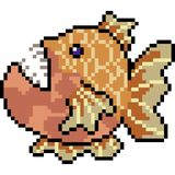 Vector pixel art deep sea fish. Isolated Royalty Free Stock Image