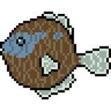 Vector pixel art deep sea fish. Isolated Royalty Free Stock Image