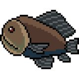 Vector pixel art deep sea fish. Isolated Stock Images