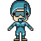 Vector pixel art dive girl. Isolated Stock Photos