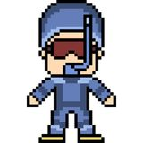 Vector pixel art dive man. Isolated Stock Photo