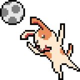 Vector pixel art dog play ball. Isolated Royalty Free Stock Photo