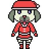 Vector pixel art dog santa Stock Image