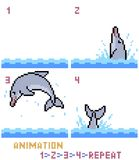 Vector pixel art dolphin animation frame. Isolated Royalty Free Stock Image