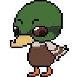 Vector pixel art duck. Isolated Stock Photos