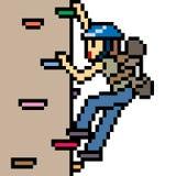 Vector pixel art fake cliff climb Royalty Free Stock Image