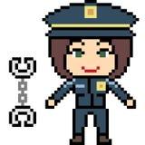 Vector pixel art female cop. Vector pixel art cartoon female cop isolated Royalty Free Stock Photos