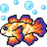 Vector pixel art fish colorful. Isolated Stock Photography