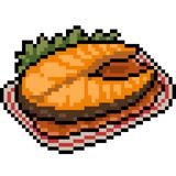 Vector pixel art fish steak food. Isolated Stock Photos