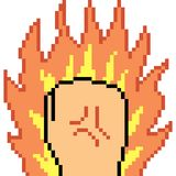 Vector pixel art fist fire. Isolated Royalty Free Stock Image