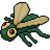 Vector pixel art fly. Isolated cartoon royalty free illustration