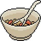Vector pixel art food bowl. Isolated cartoon stock illustration