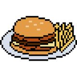 Vector pixel art food burger. Isolated Stock Images