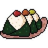Vector pixel art food onigiri. Isolated Royalty Free Stock Image