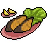 Vector pixel art food steak fish. Isolated Royalty Free Stock Photos
