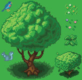 Vector Pixel Art Forest Icon Set. Vector illustration icon set of a tree, shrub, a squirrel, a bird, a small plant, and flowers created in a video game pixel art vector illustration