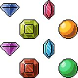 Vector pixel art gem. Isolated Royalty Free Stock Images