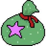 Vector pixel art gift bag. Isolated Stock Image