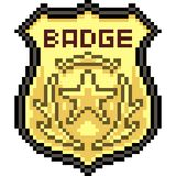 Vector pixel art gold badge. Isolated cartoon Vector Illustration