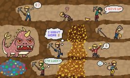Vector pixel art mine dig scene. Vector pixel art gold mine dig scene Royalty Free Stock Photography