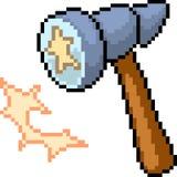 Vector pixel art hammer. Isolated cartoon royalty free illustration