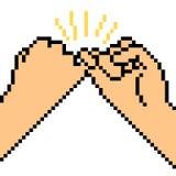 Vector pixel art hand sign friend Stock Images