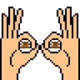 Vector pixel art hand sign peek. Isolated Stock Photography