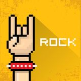Vector pixel art hand sign rock n roll music. Royalty Free Stock Photos