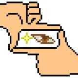 Vector pixel art hand sign see Stock Image