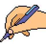 Vector pixel art hand write. Isolated royalty free illustration