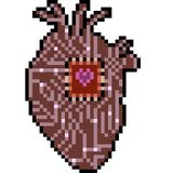 Vector pixel art heart electronic. Isolated cartoon royalty free illustration