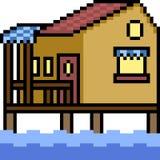 Vector pixel art house resort. Isolated cartoon Stock Image