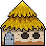 Vector pixel art hut. Isolated Stock Photography