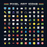 Vector Pixel Art Icons. Oldschool video game pixel style icons for any web or mobile applications and presentation Royalty Free Stock Image