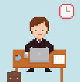 Vector pixel art illustration office businessman. Vector pixel art illistration office businessman sitting at the laptop, papers, cup of coffee, table on light Stock Photography