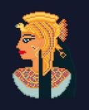 Vector pixel art illustration of woman cleopatra Royalty Free Stock Photo