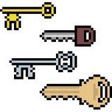 Vector pixel art key. Isolated Stock Photo