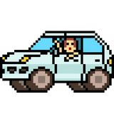 Vector pixel art kid in car. Isolated cartoon Royalty Free Stock Photo