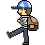 Vector pixel art kid walk. Isolated Stock Photos