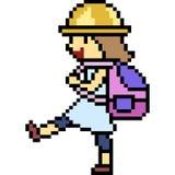 Vector pixel art kid walk. Isolated Royalty Free Stock Photos