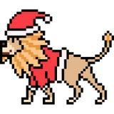 Vector pixel art lion santa Royalty Free Stock Photography