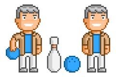 Vector pixel art man and bowling Royalty Free Stock Photo