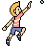 Vector pixel art man play ball.  Stock Photography